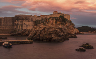 Sunset over Dubrovnik city walls