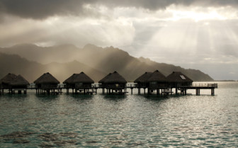 Dusky grey skies over the Hilton Moorea Resort