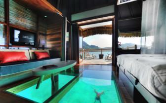 Over water bungalow interior