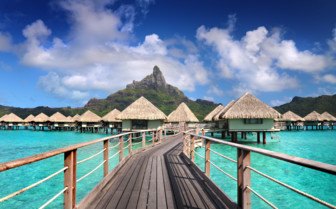Over water bungalows and walk way