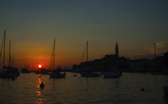 Sunset over harbour in Istria