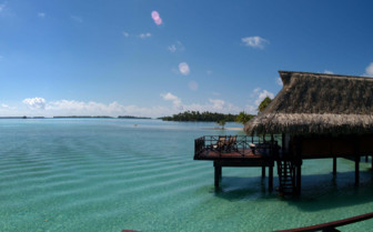 Over water bungalow and lagoon