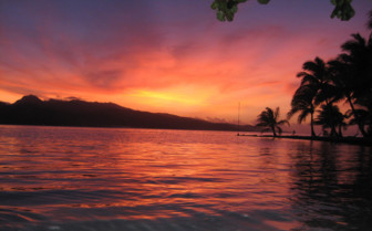 Sunset over Taha'a lagoon