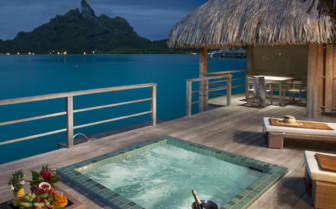 Premier over water villa jacuzzi and view