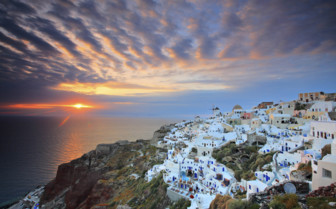 Santorini cliff and sunset