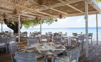Beachside dining, Mustique