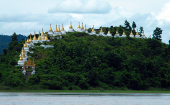 Chindwin river bank pagodas