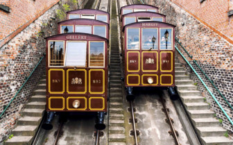 Trams on Castle Hill, Budapest