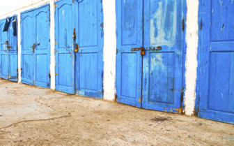 Essaouira blue doors by the harbour