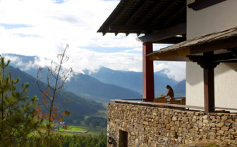 Terrace with view of mountains in Bhutan