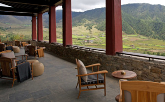 Terrace seating and mountain view
