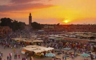 Marrakech market at sunset