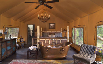 Paws Up bedroom and bath tub