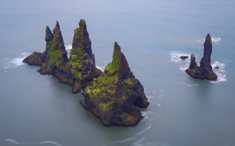 Reynisdrangar rocks and sea in Iceland