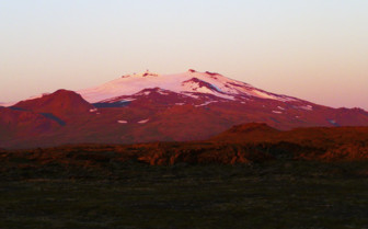 Snaefellsjokull volcano at sunset