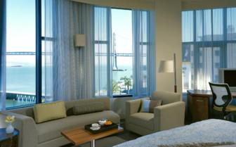Bedroom with ocean view at Hotel Vitale, luxury hotel in Big Sur