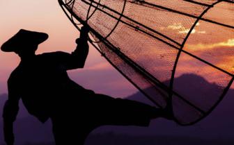 Inle Lake fisherman at sunset