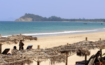 Umbrellas on Ngapali beach