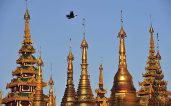 Yangon Shwedagon turrets and sky