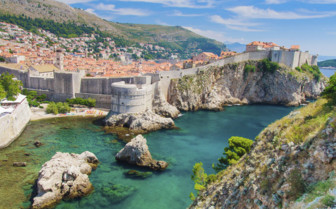 Dubrovnik city walls and sea