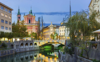 Ljubljana river and buildings
