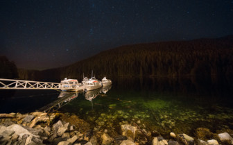 Boats and starry night sky