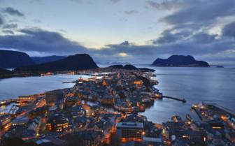 View of Alesund at night
