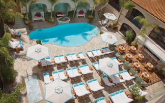 Aerial view from the poolside area