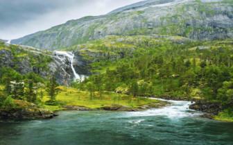 Waterfall in Hardangervidda Park
