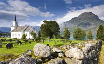 Church next to a fjord