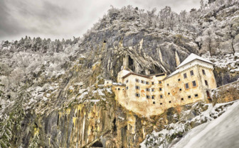 Predjama Castle in winter