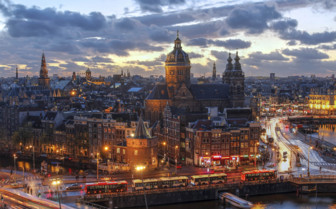 Evening city scape of Amsterdam