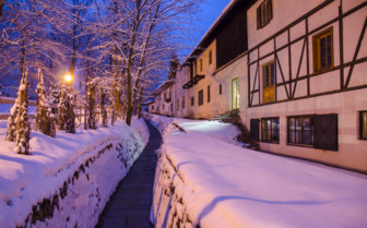 Kitzbuhel ski resort at night
