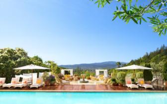 The pool deck at Auberge du Soleil