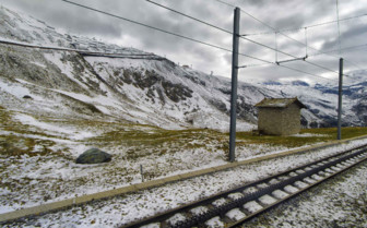 Cog railway track in the Swiss Alps