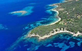 Greek island aerial
