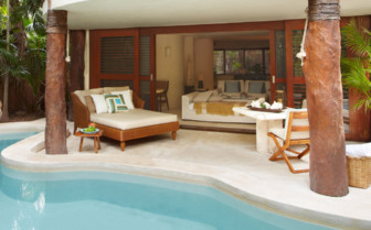The presidential patio at the pool at Viceroy Riviera Maya
