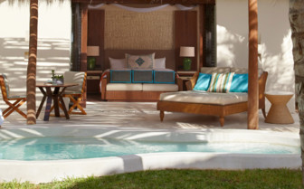 The oceanview villa bed at Viceroy Riviera Maya, luxury hotel in Mexico