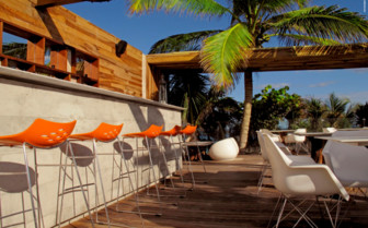 The outdoor bar at Be Tulum hotel
