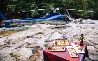 Dining and private helicopter flight