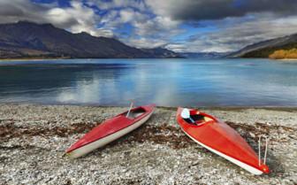 Closed Kayaks at Wakatipu Lake