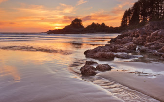 Beach on North Vancouver Island at Sunset