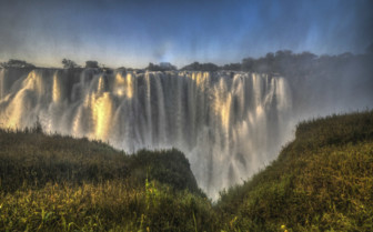 The Spray Coming off Victoria Falls