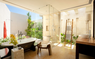 The bathroom at Rosewood Mayakoba, luxury hotel in Mexico