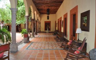The terrace at Posada Hidalgo hotel