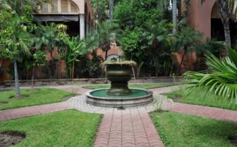 Fountain in the hotel garden