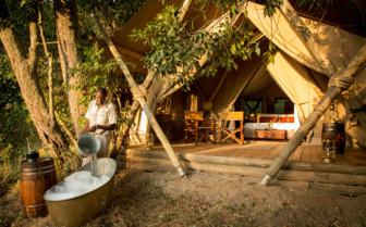 Bath at the Mara Expedition Camp, Kenya