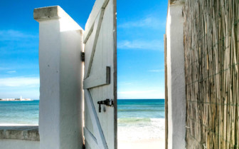 Detail of the door opening out to the beach