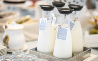 Detailed Milk Bottles at Breakfast