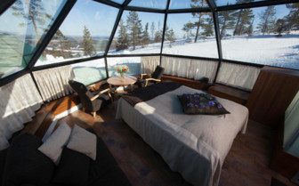 Double bed at the Levi Igloos